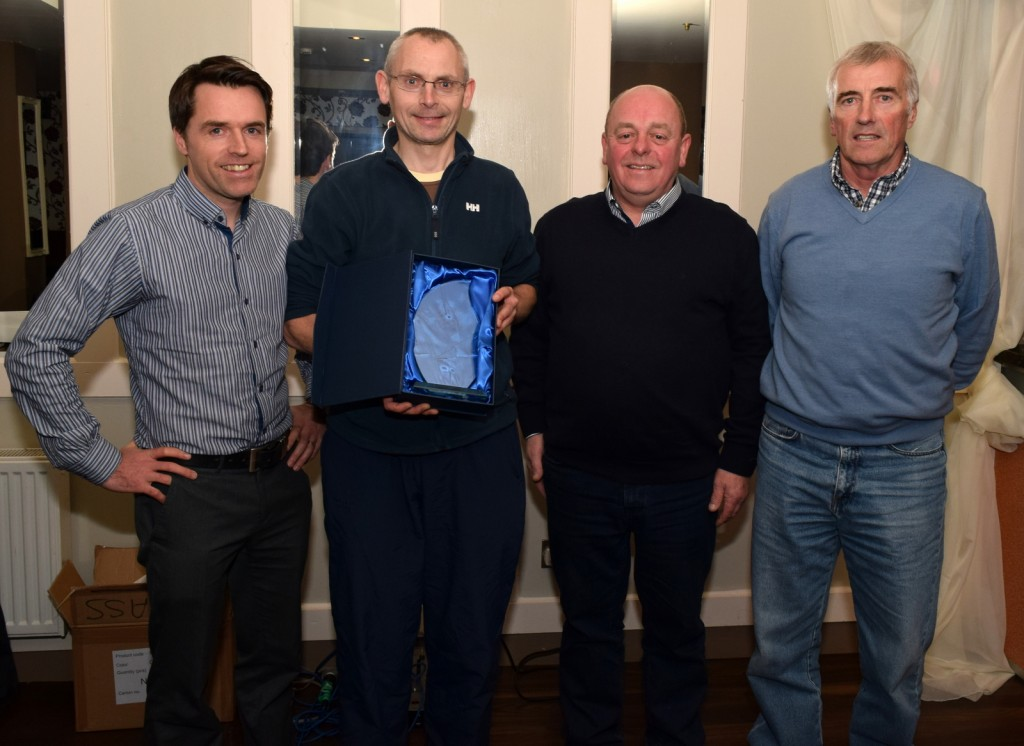 The club man of the year award went to Rory Wyley, vice club chairman and past president cycling Ireland, pictured with club chairman John Dempsey, Paul Lonergan, secretary, Larry Power Treasurer.