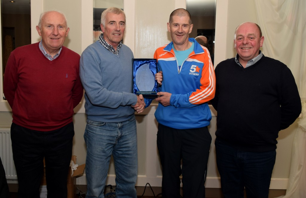 The Merit award for 2015 went to John O'Donnell, the award was accepted by his brother Leslie O' Donnell. L-R Billy Kennedy, club vice president, Olympic council of Ireland ,Larry Power, Treasurer, Leslie O'Donnell & Paul Lonergan, club secretary.